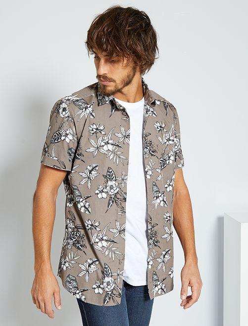 camisa slim con estampado tropical gris hombre