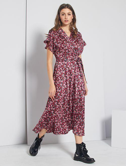vestido largo cruzado de flores